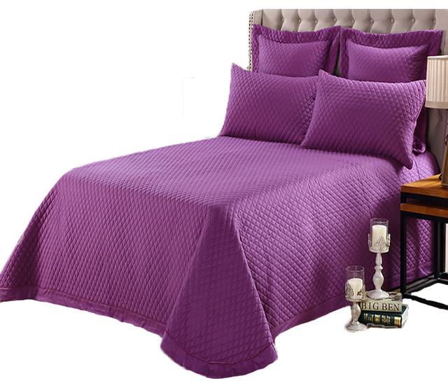 3-Piece Microfiber Stitched Lightweight Bedspread Coverlet Set Lavender