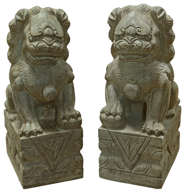 Hand Carved Stone Foo Dogs, Set Of 2