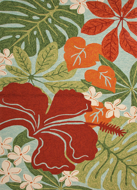 indoor/outdoor floral and leaves pattern lagoon rug, surf spray