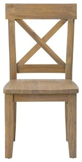 Bowery Hill X Back Dining Chairs, Wood Grain, Set of 2