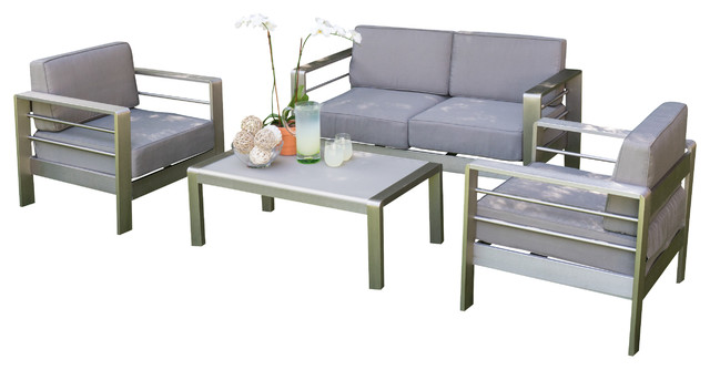 Denise Austin Home Sonora Outdoor Aluminum Loveseat With Cushions 4-Piece Set.