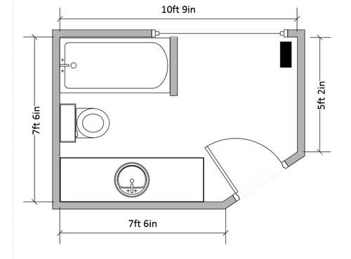 Need help with awkward bathroom layout for Standard bathroom design layouts