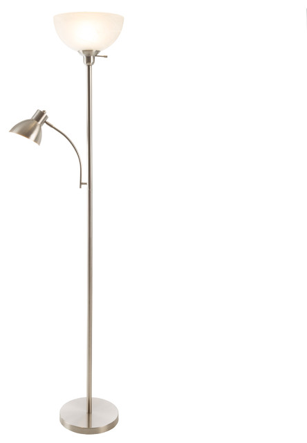 2 Headed Torchiere Floor Lamp With