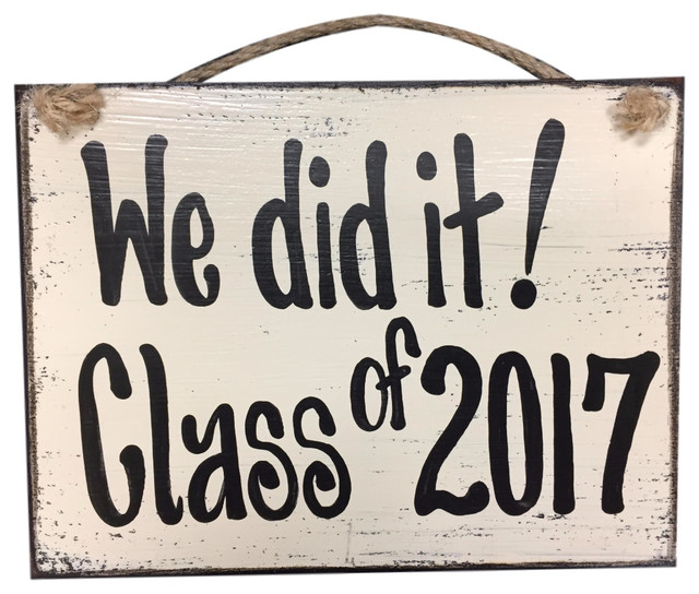 Sign graduation we did it class of 2017 6x8 tan beach style novelty