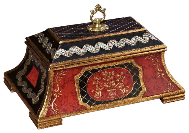 covered wooden box red and black asian decorative boxes - Decorative Boxes