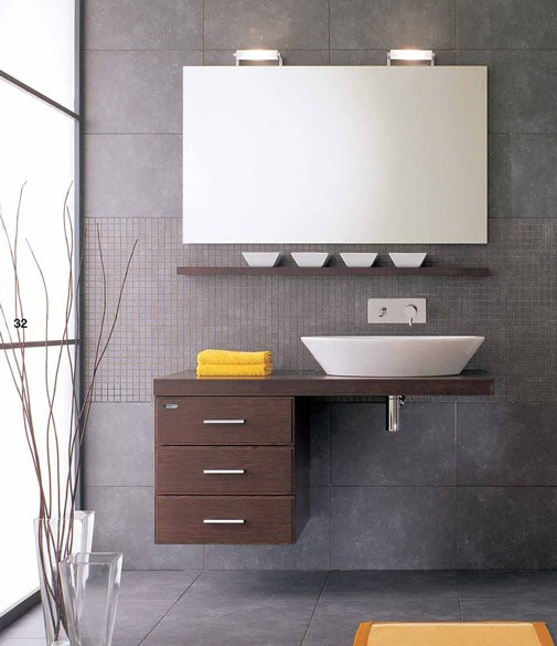 Example of a minimalist powder room design in San Francisco with brown countertops