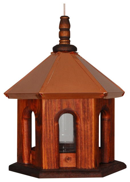 Bird Feeder Hanging Copper Roof Stain Wood Landscape Home