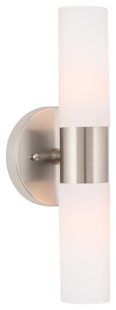 """Kira Home Duo Wall Sconce, Frosted Glass Shades, Brushed Nickel, 14"""""""