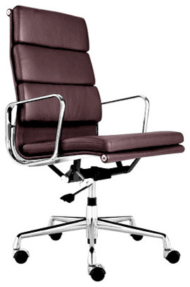 high back leather management office chair brown modern office chairs
