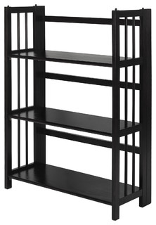 "3-Shelf Folding Stackable Bookcase 27.5"" Wide, Black"