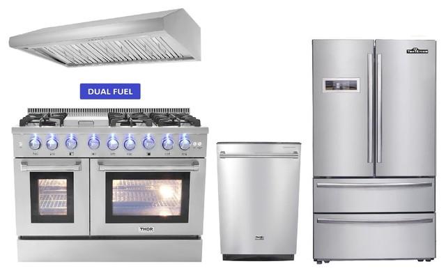 """48"""" Dual Fuel Range - Thor Kitchen 4 Pkg Bundle, Natural Gas - 4pkg H6"""