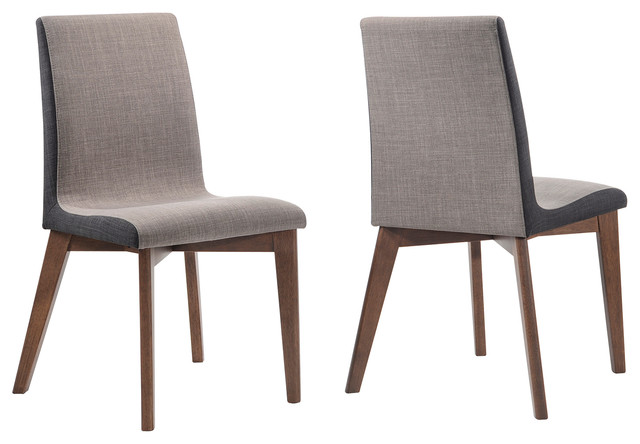 2 Piece Midcentury Fabric Upholstered Dining Side Chairs Walnut Wood Legs