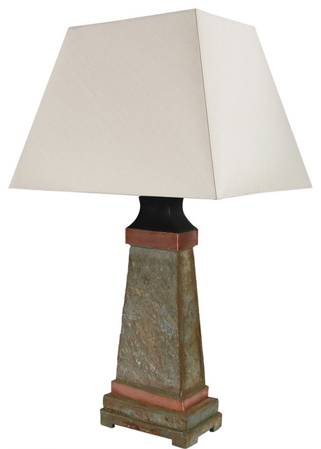 "Sunnydaze Indoor/outdoor Copper Trimmed Slate Table Lamp, 30"" Tall."