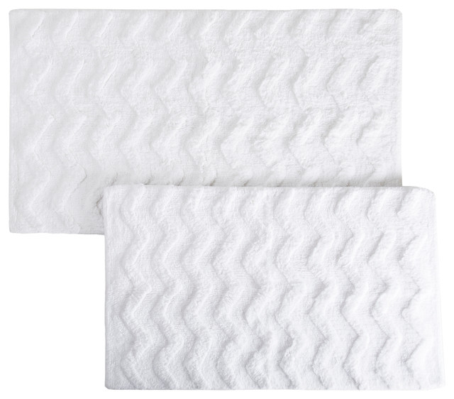 2-Piece Chevron Pattern Bathroom Mat Set, White.