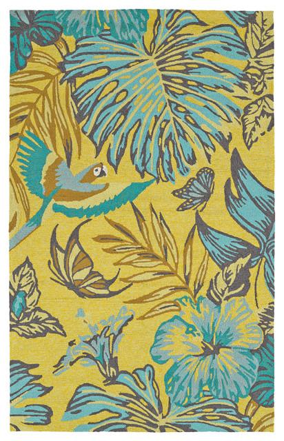 Kaleen Handmade Yunque Polypropylene Rug, Yellow, 8&x27;x10&x27;.