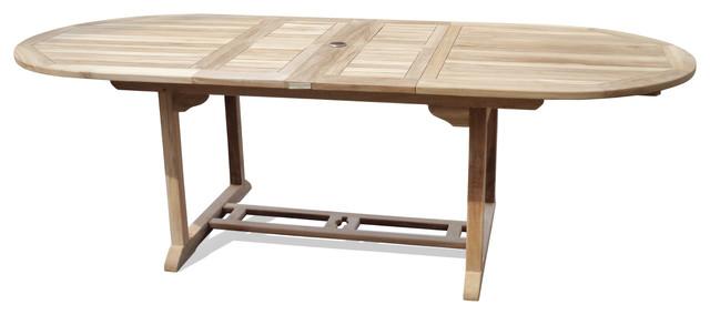 Grade A Teak Buckingham Oval Double Leaf Extension Table - Teak extension table outdoor