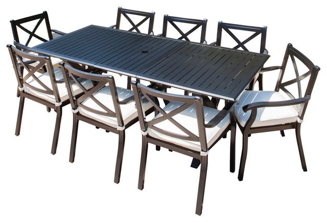 Awe Inspiring Gdf Studio 9 Piece Eowyn Cast Aluminum Outdoor Dining Set With Expandable Table Customarchery Wood Chair Design Ideas Customarcherynet