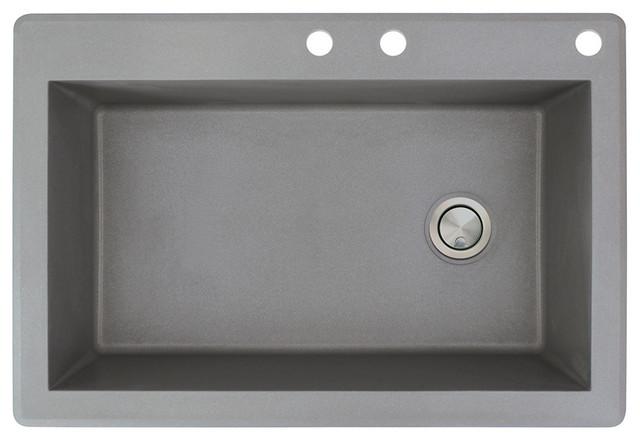33-In X 22-In Drop-In Radius Granite Kitchen Sink In Grey.