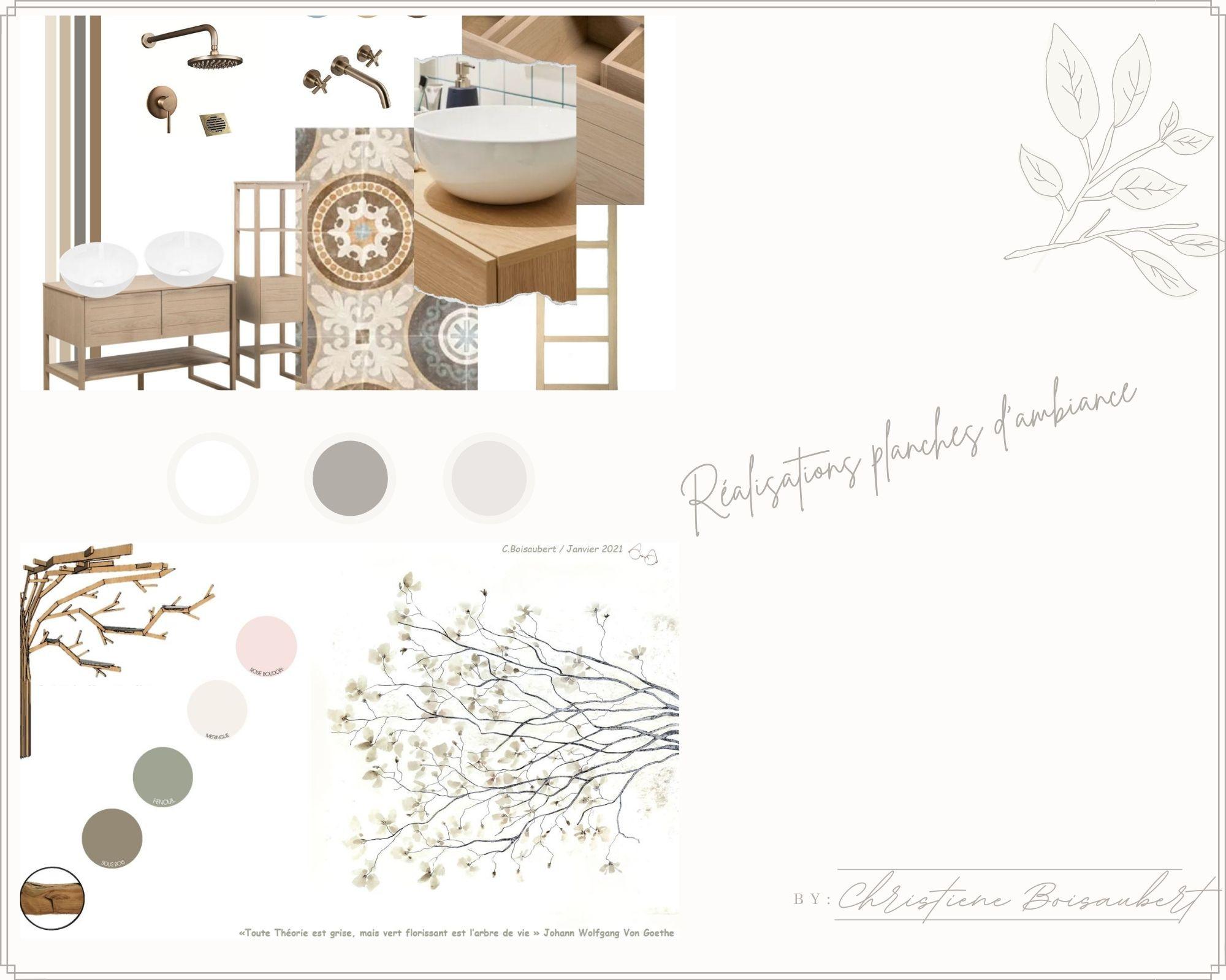 Planche d'ambiance et  d'inspiration projet de Décoration
