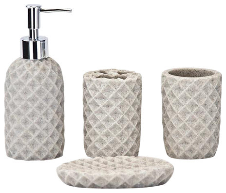 4-Piece Bathroom Accessories Set, Cream