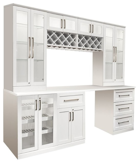 Newage Home Bar 8 Piece 96 X25 Modular Cabinet Set White Wine