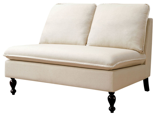 Upholstered Line-Like Fabric Love Seat Sofa, Ivory.