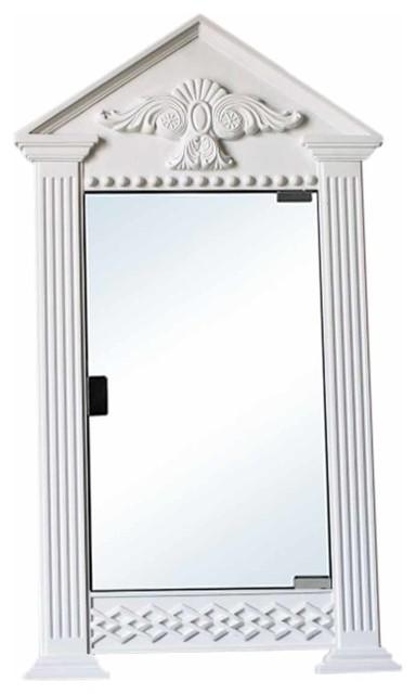 White Urethane Corner Medicine Cabinet, Premium Mirror, Ready To Paint.