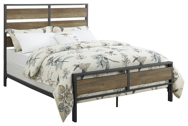 Queen Size And Plank Bed, Rustic Oak.