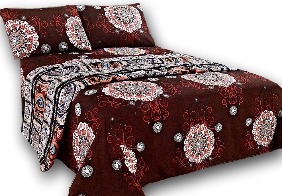 Tache Burgundy Paisley Fitted Flat Sheet Set Contemporary Sheet And Pillowcase Sets By Tache Home Fashion