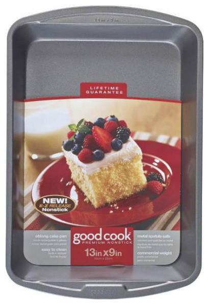 "Good Cook Non-Stick Oblong Cake Pan, 13""x9""."