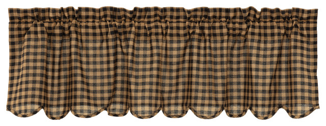 Black Primitive Kitchen Curtains Cody Black Check Valance Rod Pocket Cotton