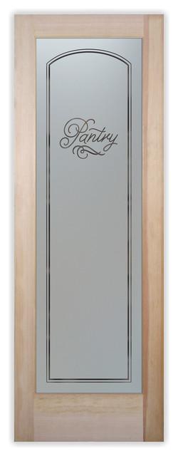 Pantry Door Melany Sandblast Etched Glass Pantry Door.