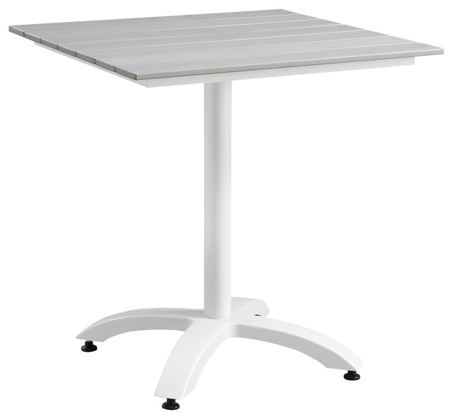 """Maine 28"""" Outdoor Aluminum Dining Table, White Light Gray"""