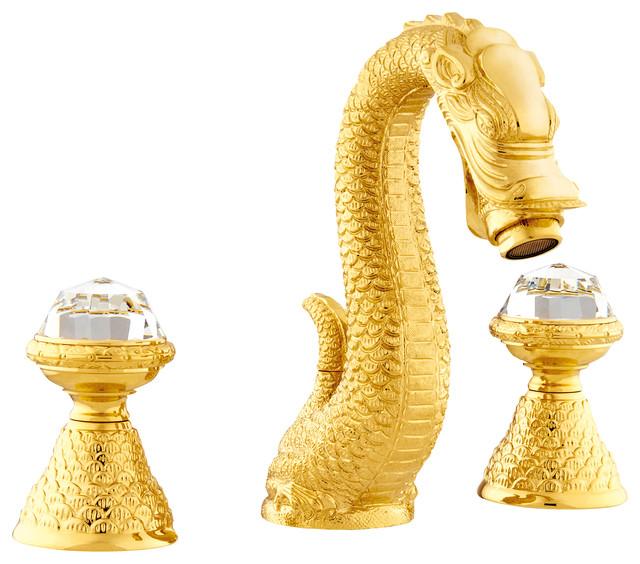 three hole bathroom sink faucet. Dragon 3 Hole Faucet  Swarovski Crystal Gold asian bathroom sink Asian Bathroom