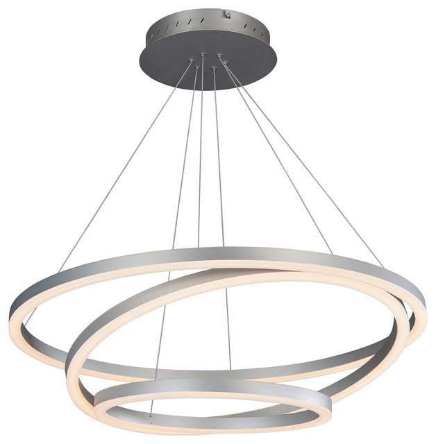 Tania Trio Circular LED Chandelier, Silver