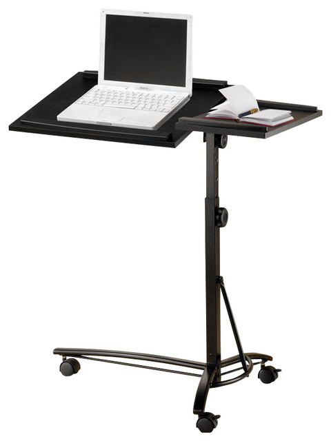 Small Smart Adjustable Height Swivel Top Black Computer Desk Mobile Laptop  Stand Contemporary Office