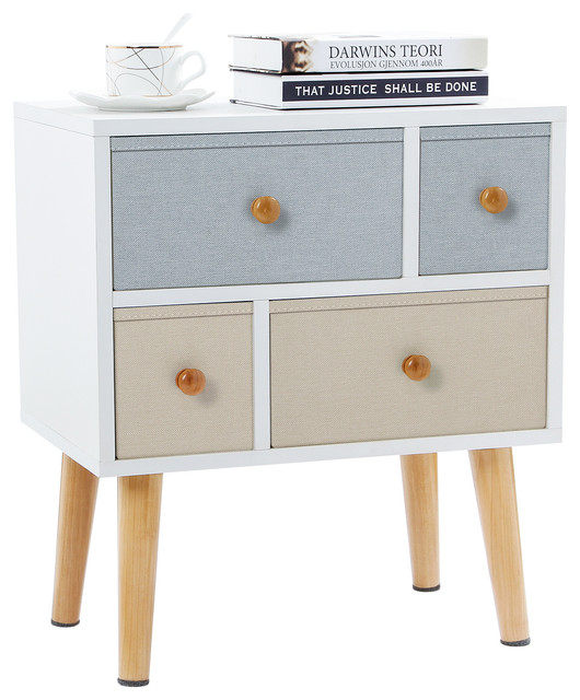 Lifewit Side End Table Nightstand Bedroom Living Room Table Cabinet With 4 Drawe.