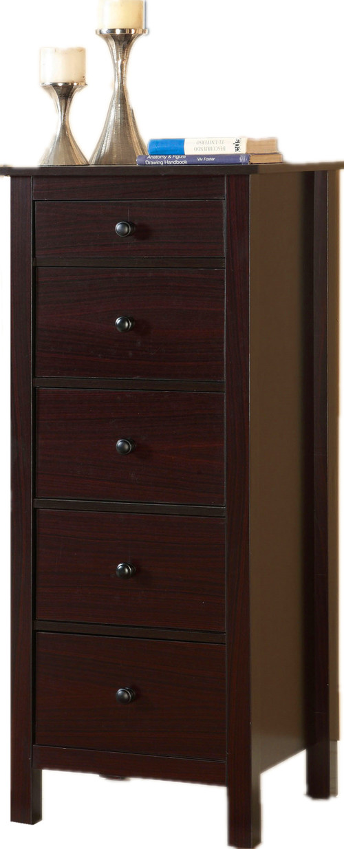 Accent Small Compact 5-Drawer Wood Chest Cabinet, Espresso