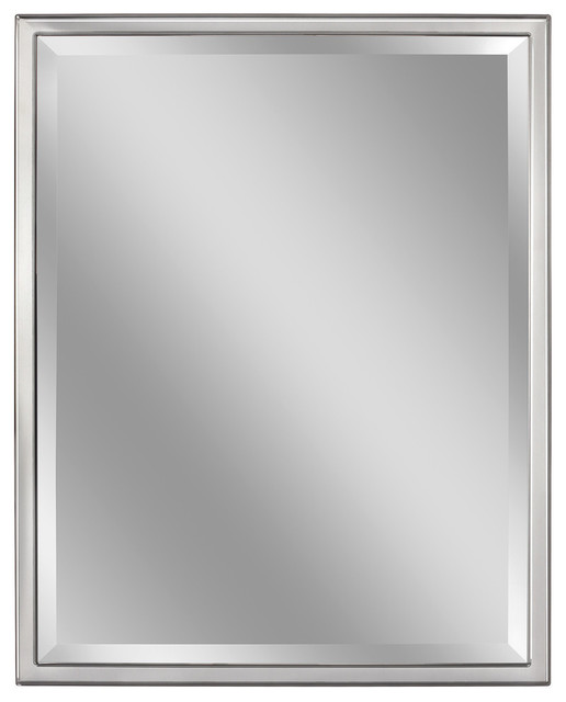 Classic Chrome Metal Frame Wall Mirror, 30 X 40. -1