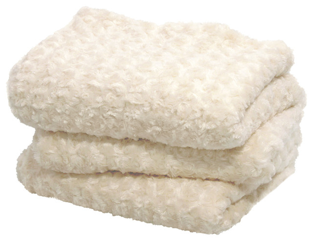 Sculpted Ivory Faux Fur Throw.