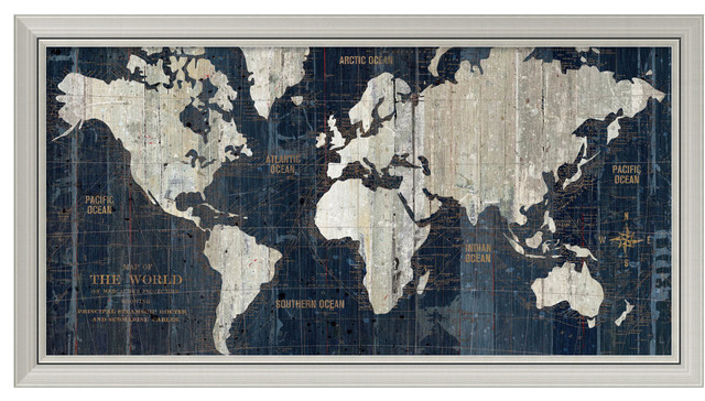"Wild Apple Portfolio &x27;old World Map Blue&x27; Framed Art Print 43""x23""."