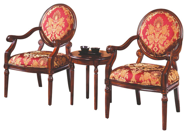 3 Piece Traditional Living Room Accent Chair Set Living