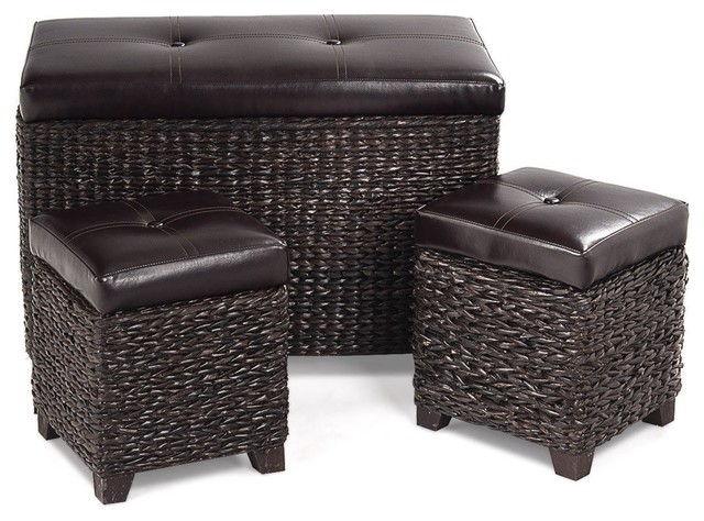 Surprising Modern 3 Pcs Rattan Seating Storage Bench Hassocks Leather Ottoman Creativecarmelina Interior Chair Design Creativecarmelinacom
