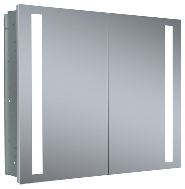 "Recess Mounted Double-Door Medicine Cabinet Mirror, 40""x26""."
