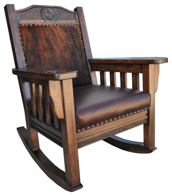 Superior Texas Western Rocking Chair, Cowhide, Without Ottoman