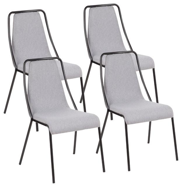 Katana Contemporary Chair With Black Metal, Set of 4, Gray Fabric