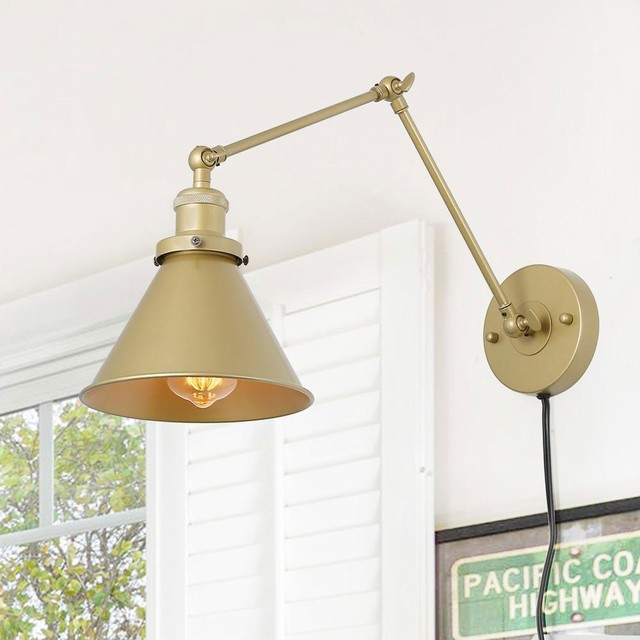 Transitional Swing Arm Wall Lamp Adjustable Wall Sconces Plug In Sconces