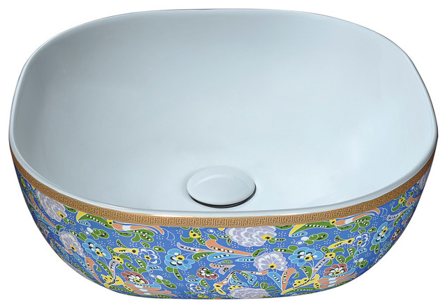 Byzantian Series Ceramic Vessel Sink, Byzantine Mosaic Finish.