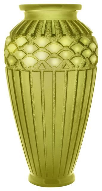 Daum Rhythms Vase Large Green Olive Contemporary Vases By