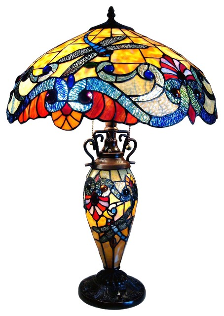 Chloe Lighting 3 Light Tiffany Style Dragonfly Double Lit Table Lamp